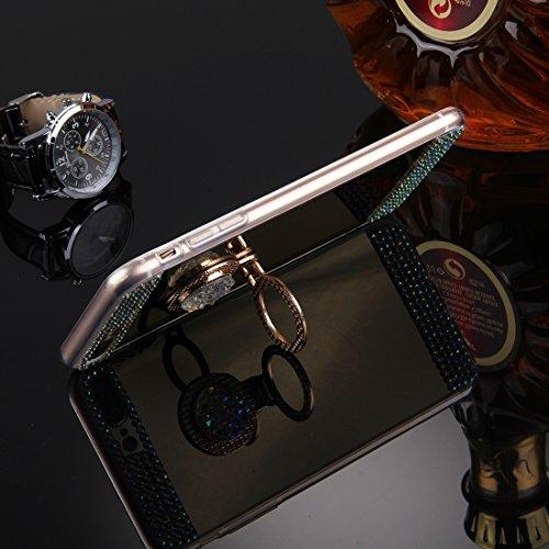 Hülle für iPhone 7 plus , Schutzhülle Für iPhone 7 Plus Diamond verkrustete Galvanik Spiegel Schutzhülle Fall mit versteckten Ring Halter ,hülle für iPhone 7 plus , case for iphone 7 plus ( Color : Go Gold