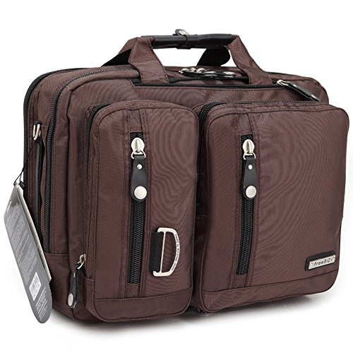 FreeBiz Sac à Dos Double Epaule Sacoche Sac Messager Sac Porte-Documents Multifonction 3&1 Ordinateur Portable Laptop 17.3 pouces en Nylon (Marron)