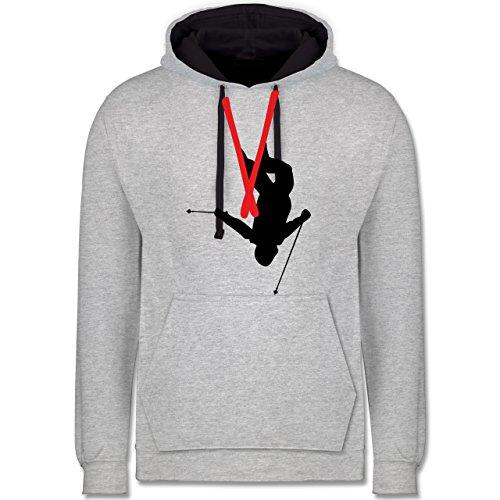 Wintersport - Freestyle Skiing - Freestyle Ski Tricks - Kontrast Hoodie Grau meliert/Dunkelblau