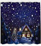 Abakuhaus Weihnachten Duschvorhang, Winter-Nacht Haus, Klare Farben aus Stoff inkl.12 Haken Farbfest Schimmel und Wasser Resistent, 175 x 200 cm, Navy Blau Gelb