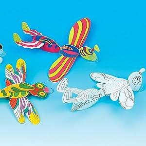 Lot de 6 Planeurs Insectes à Colorier pour enfants - Idéal comme jeux plein air