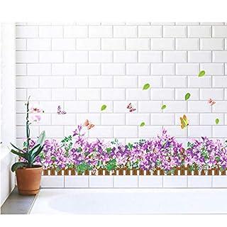 Gras blumen schmetterling pracht taille baseboard wohnzimmer schlafzimmer wandaufkleber wohnkultur pvc wasserdicht aufkleber poster