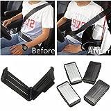 Mark8shop Sicherheitsgurt-Clips, für Auto, 2 Stück, verstellbar, silber & schwarz