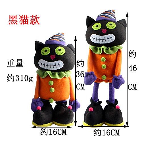 SunBai kreative Cartoon Dolls Teleskop witch Puppe Plüsch Spielzeug Halloween geek ständigen Kürbis Puppen Geschenk, schwarze Katze
