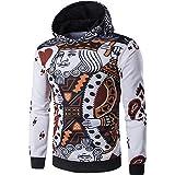 PIZZ ANNU Unisex Mode Hip Hop 3D Poker Gedruckt Hoodie Pullover Langarm Pullover Sweatshirts (Schwarz, M)