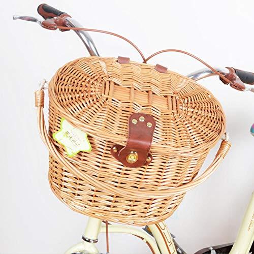 soundwinds Wicker Fahrradkörbe Vorne Fahrradkorb Retro Handgefertigte Rattan Fahrradkorb mit Griff Deckel Eisenhaken und Lederknopf -