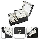 Todeco Caja Almacenamiento para 20 Relojes, 30 x 23 x 20 cm, Negro/Beige