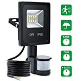 SOLMORE 10W Security Lights Motion Sensor PIR Floodlights Outdoor Led Flood Lights With Sensor Daylight White Waterproof IP65 60W Halogen Lights Head&Brightness&Sensor Time Adjustable For Car Park Driveway Forecourt Garden Outside Wall Warehouse Pathway