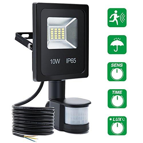 SOLMORE Projecteur LED Extérieur Détecteur de Mouvement Étanche IP65 Éclairage de Sécurité Lumière Mural 10W 6000K 900LM Éclairage pour Jardin Cour Couloir Garage Sous-sol Entrée Chemin(Blanc Lumière)