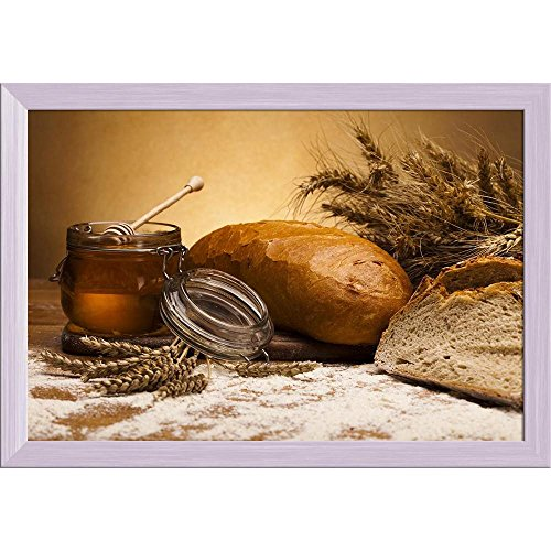 Pitaara Box Photo of Traditional Bread Canvas Painting White Frame 23.5 X 16Inch White Bread Box