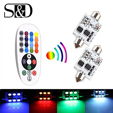 S&D 2 X 41mm 1.6inch LED Bulb Car Dome Light - Easy Controlled With Remoter Colorful RGB(41mm)