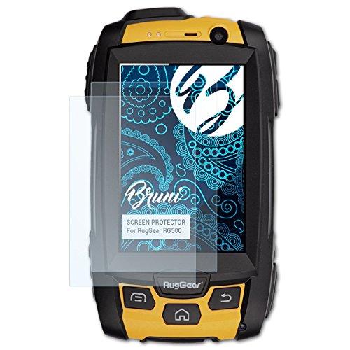 Bruni Schutzfolie für RugGear RG500 Folie, glasklare Bildschirmschutzfolie (2X)