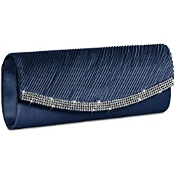 Caspar TA291 Bolso de Mano Fiesta para Mujer Clutch de Satén con Estrás, Color:azul oscuro