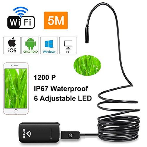 Teepao WiFi Endoskop, Kabellos Endoskopkamera 6 LEDs Wasserdichte Inspektionskamera mit 2,0 Megapixel 720P HD Halbsteife Kabel Boreskope Schlange Kamera für IOS/Android/PC/Laptop (5M)