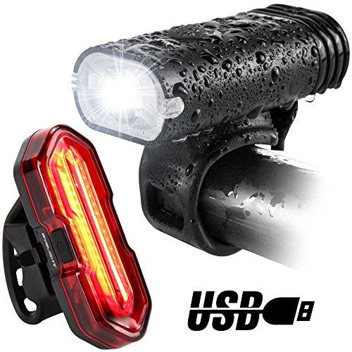 LED Fahrradbeleuchtung Set, BYBLIGHT USB Wiederaufladbare LED Fahrradlicht / Fahrradlampe Set, 7 Modi Farad Frontlicht & Rücklicht, IP65 Wasserdicht, 1200 mAh, mit 2x Montagewinkel & USB Kabel