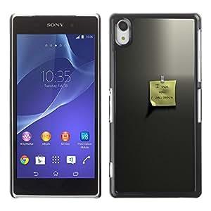 NICE GIFT GOOD PRESENT // Telefon-Kasten Hart Schutzhülle Tasche Hülle HandyHülle New Design Hard Protective Case for Sony Xperia Z2 / Lieber memo /