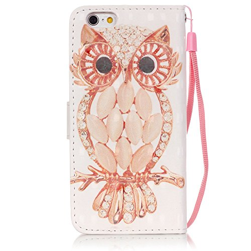 "MOONCASE iPhone 6s Coque, Creative 3D motif Bling Diamond Case Portefeuille Housse en Cuir Etui à rabat avec Béquille pour iPhone 6 6S 4.7"" -Bleu Papillon Shell Owl"