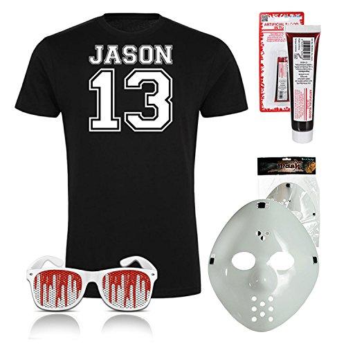 drucksda Halloween Fasching Kostüm Set Jason 13 Michael Myers Kostüm Verkleidung Set Shirt und Brille Nerd weiß Halloween Fasching Freitag 13 (XXX-Large)