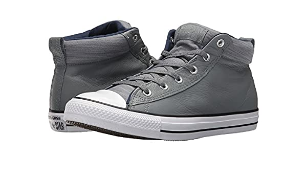 6f6464480eeef3 Converse Chuck Taylorr All Starr High Street Leather w Fleece Mid Cool  Grey Midnight Navy Men s Classic Shoes  Amazon.co.uk  Shoes   Bags