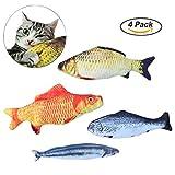 OWUDE Katzenminze Spielzeug, 4 Stück nachfüllbar Simulation Fisch Plüsch Katze interaktives Spielzeug für Haustier, Welpen, Kitty, Kätzchen, Frettchen, Kaninchen - Chew Bite Kick Supplies Kissen