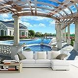 Tapete Seidentuch 3D Hd Stereo Raum Erweiterung Outdoor Pool Große Wandbilder Hintergrund Dekor Tapete-(W)300X(H)210Cm