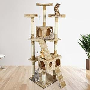 Albero per Gatto con Graffiatoio Cuccia Giocattolo Gatti Parco Giochi Tiragraffi in Sisal Naturale (Conan 30055)