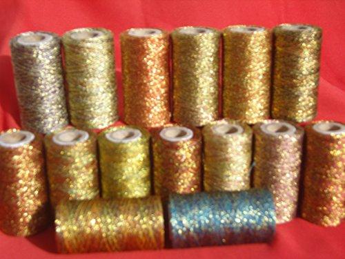 Ast-thread (Je 15Spulen Metallic Multi Gold Twisted 400Yards, 15verschiedene Farben)