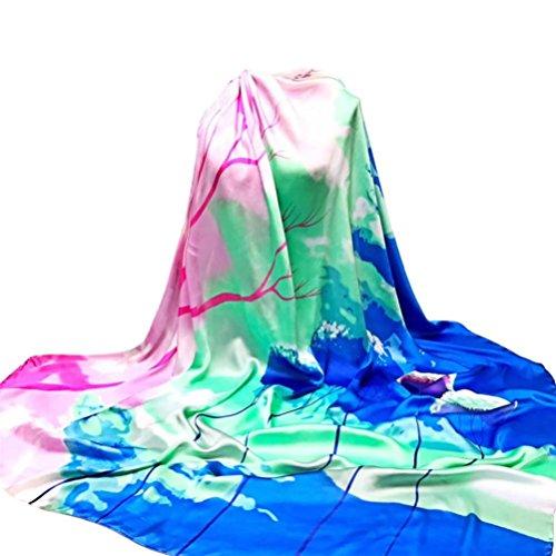 Schal YunYoud Damen Drucken Hijab Schals Mode Lange Wickelschal Weich Seide-Satin Quadratischer Schal Winter Halstuch (140*140CM, Blau) (Drucken Schal Lange)