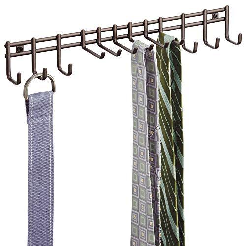 mDesign Hakenleiste wandmontiert - praktischer Krawattenhalter, Gürtelhalter - zur Wandmontage für Tücher, Taschen und Accessoires - Bronze