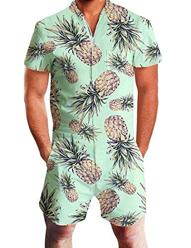 231da8ebd503 Idgreatim Men 3D Graphic Pineapple Beach Rompers Casual Shorts Zipper  Jumpsuit One Piece Romper Overall Outfits