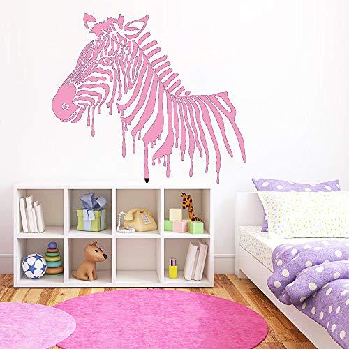 Zebra Wandtattoo Afrikanische Tier Wandtattoo für Kinderzimmer Selbstklebende Tapete Schlafzimmer Home Decoration Rosa 48x42 cm (Zebra Kennzeichenhalter)