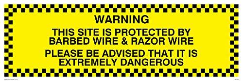 Viking Zeichen wc509-l62-v Achtung dieser Webseite ist durch Stacheldraht und Rasierer Draht Bitte beachten Sie, ES IST extrem gefährlich Zeichen, Vinyl, 200mm H x 600mm W -