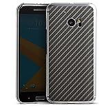HTC 10 Hülle Case Handyhülle Carbon Look Schwarz Grau Metal