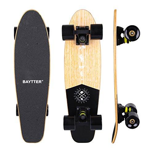 BAYTTER® 22 Zoll Skateboard Komplett Board Mini-Cruiser aus 7-lagigem Ahornholz 57 x 15cm für Kinder, Jugendliche und Erwachsene mit ABEC-11 Kugellager und 95A Rollenhärte, 5 Farben wählbar (holzfarbig)