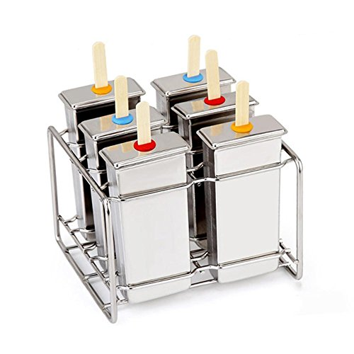 bulary 6PCS Edelstahl DIY Eis Popsicle Form Eis Form Würfel Form Gesundes Homemade tolle für Party Indoor Outdoor Anwendung