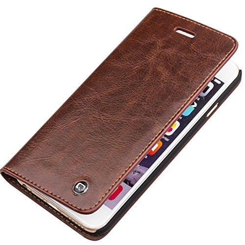 Apple iPhone Étui portefeuille en cuir véritable, marron, 6 Plus / 6s Plus marron
