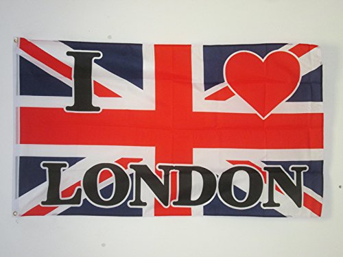 BANDIERA I LOVE LONDON 150x90cm - BANDIERA LONDRA - REGNO UNITO - UK 90 x 150 cm - AZ FLAG