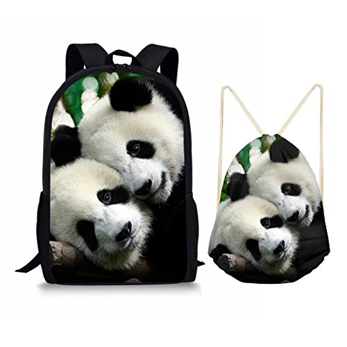 Zwei Tier-handtuch (showudesigns Kinder Outdoor Sports Gym Kordelzug Rucksack Tier Dinosaurier Print M Panda 2 Set)