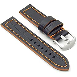DASSARI Flash Leather Crocodile Print Watch Strap in Black & Orange 22mm