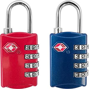 TSA Luggage Locks - 2 Pack - 4 Digit Combination Padlocks for Suitcases, Bags and Travel Accessories