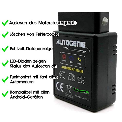 Autogenie Bluetooth ECHTZEIT-Daten am Handy OBD-2 KFZ-Diagnosegerät Torque Android Windows Smartphone Auto PKW KFZ Lesegerät OBDII Adapter Diagnose-Tool CAN Bus Interface Torque