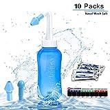 Nasendusche Set, Nasenspülsalz Nasenspülung Nasenreinigung Nase,Neti Pot,Nasenspülung bei Erkältung oder Allergien,Nasenspülsalz 10x Beutel,300 ml