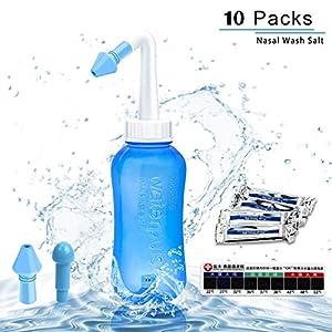 Nasendusche Set, Nasenspülsalz Nasenspülung Nasenreinigung Nase,Neti Pot,Nasenspülung bei Erkältung oder Allergien,Nasenspülsalz 30x Beutel,300 ml