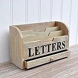 Madera letra soporte para cartas y importante volantes, con pequeño cajón para almacenamiento de sellos ETC. Gisela Graham