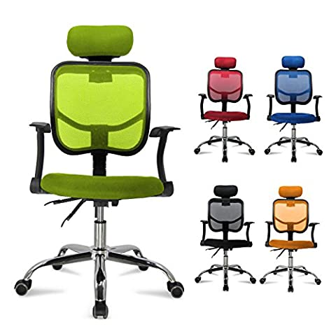 MVPOWER Office Chair Adjustable Mesh Executive Swivel Desk Armchair with Chrome Base Green