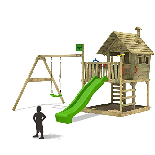 FATMOOSE Spielturm WackyWorld Mega XXL Kletterturm Baumhaus Holz mit Schaukel und apfelgrüner Rutsche