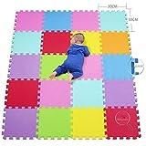 qqpp Tapis de Puzzles – Tapis de Sol Enfant et Bébé en Mousse - 20 Dalles Colorées à Imbriquer 30 x 30 cm - Idéal pour l'Éveil de l'enfant QQCS3009G20