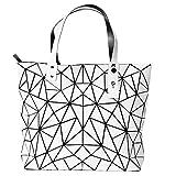 BUOU Damentasche Henkeltasche Geometrische Tasche Schultertaschen Umhängetaschen Damen Shopper (Weiß)
