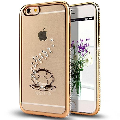 6S iPhone-Custodia per iPhone 6, motivo: delfini MASUMARK, motivo floreale con strass, colore: trasparente, in gomma, motivo: diamanti, colore: oro placcato Electroplate cornice paraurti in Silicone T Shell Pearl 5.5 - Gold