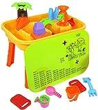 deAO Mesa de juego de arena y agua 2 en 1 de plástico para exteriores para niños con horarios mesas y accesorios incluidos